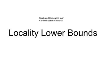Locality Lower Bounds - INET