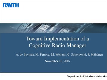 Toward Implementation of a Cognitive Radio Manager - iNETS