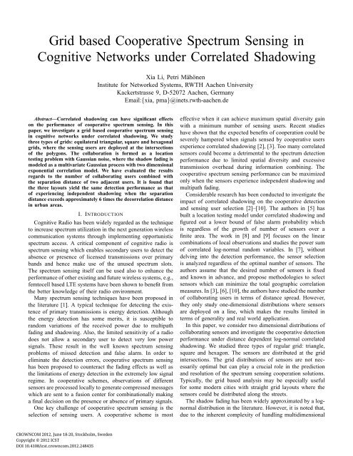 Grid based Cooperative Spectrum Sensing in Cognitive
