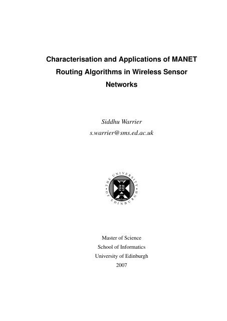 Characterisation and Applications of MANET Routing Algorithms in ...
