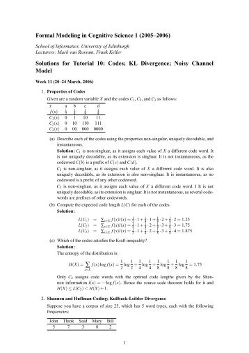 Solutions - School of Informatics - University of Edinburgh