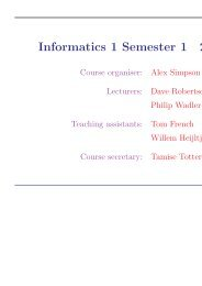 Informatics 1 Semester 1 2009–10 - School of Informatics