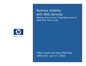 Business Visibility with Web Services