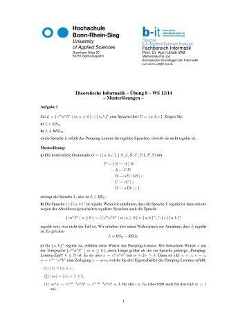 16. Theoretische Informatik - Übung 8 - Musterlösung - Fachbereich ...