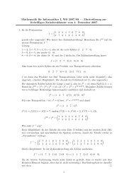Mathematik für Informatiker I, WS 2007/08 — Musterlösung zur ...
