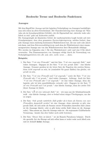 Boolesche Terme und Boolesche Funktionen