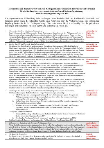 Informationsblatt zur Bachelorarbeit - Fachbereich Informatik und ...
