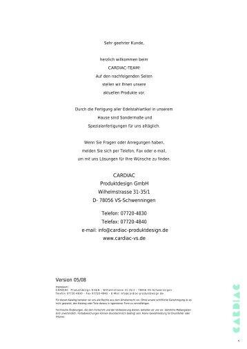 Latest version of catalogue (PDF) - Cardiac Produktdesign Gmbh