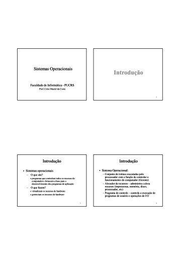 Slides das aulas - Faculdade de Informática - pucrs