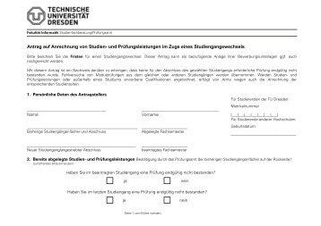 Antrag auf Anrechnung von Studien- und Prüfungsleistungen im ...