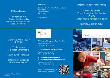 14:00 Uhr / INF 1004 FITweltweit-Stipendien - Faculty of Computer ...
