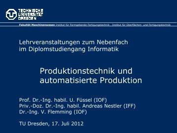 Produktionstechnik und automatisierte Produktion - Technische ...
