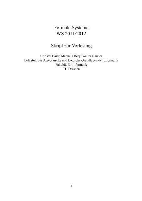 Formale Systeme WS 2011/2012 Skript zur Vorlesung - Faculty of ...