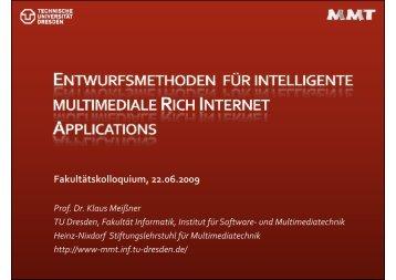 Entwurfsmethoden intelligenter multimedialer ... - Fakultät Informatik