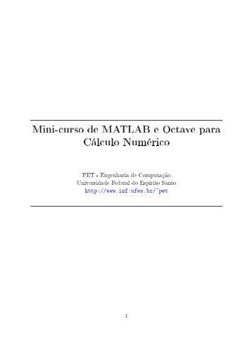 Mini-curso de MATLAB e Octave para Cálculo Numérico