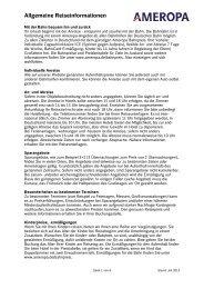 Infos und allgemeine Hinweise - Ameropa-Reisen