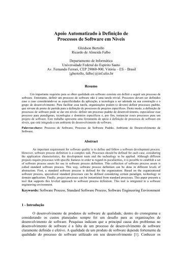 Apoio Automatizado à Definição de Processos em Níveis
