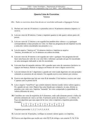 Quarta Lista de Exercícios Vetores - Departamento de Informática