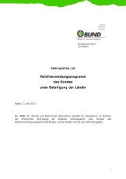 BUND-Stellungnahme zum Abfallvermeidungsprogramm des Bundes