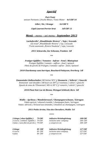 Aperitif Menü – menu – set menu - September 2013 - The Cambrian