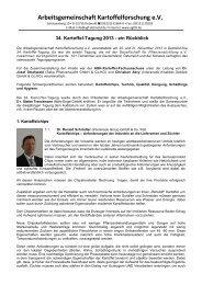 Kartoffeltagung 2013 - Arbeitsgemeinschaft Getreideforschung e.V.