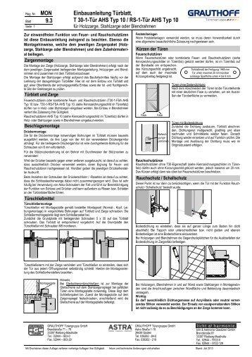 9.3 Einbauanleitung Türblatt, T 30-1-Tür AHS Typ 10 / RS ... - Grauthoff