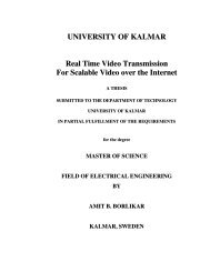 UNIVERSITY OF KALMAR Real Time Video Transmission For ...