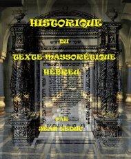 Historique du Texte Massorétique Hébreu.