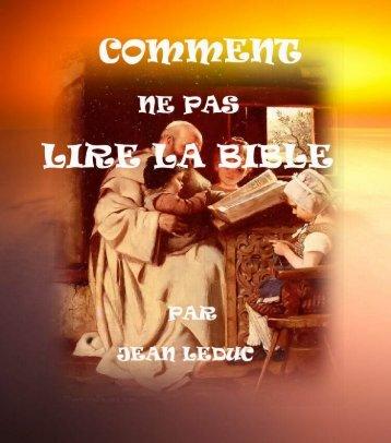 Comment ne pas lire la Bible.