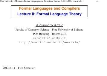 Formal Language Theory - Faculty of Computer Science