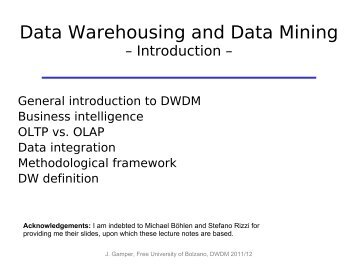 Data Warehousing and Data Mining - Faculty of Computer Science