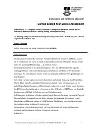 German Second Year Sample Assessment - University of Adelaide