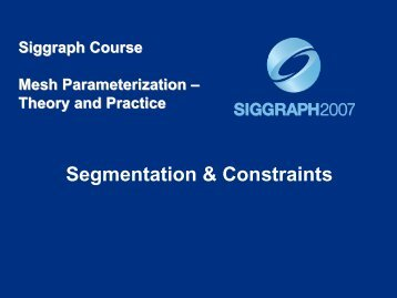 Segmentation & Constraints