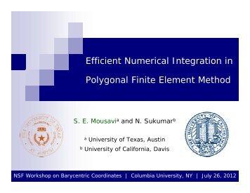 Efficient Numerical Integration in Polygonal Finite Element Method