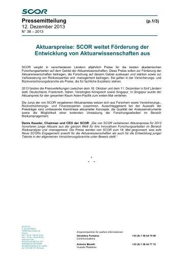 Pressemitteilung Aktuarspreise: SCOR weitet Förderung der ...