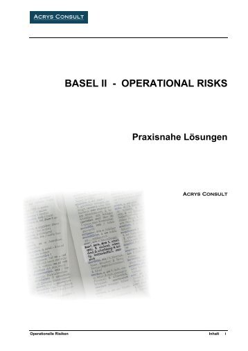 BASEL II - OPERATIONAL RISKS Praxisnahe ... - Acrys Consult