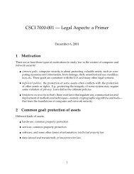 CSCI 7000-001 — Legal Aspects: a Primer