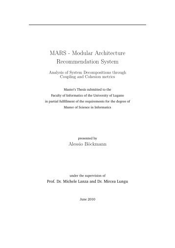 Modular Architecture Recommendation System - Faculty of Informatics