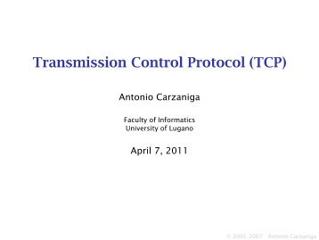 Transmission Control Protocol (TCP) - Faculty of Informatics