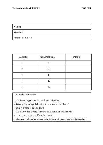 Name : Vorname : Matrikelnummer : Aufgabe max. Punktzahl Punkte ...