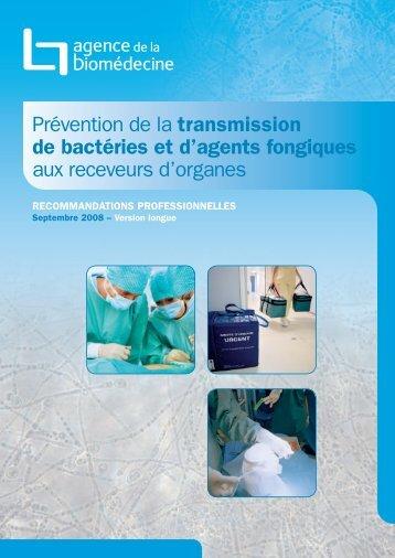 Prévention de la transmission de bactéries et d'agents ... - Infectiologie