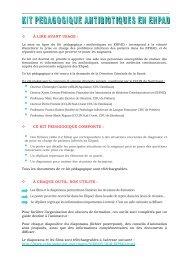 Information à lire avant d'utiliser le kit pédagogique