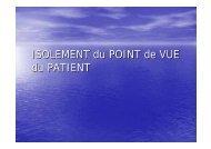 ISOLEMENT du POINT de VUE du PATIENT - Infectiologie
