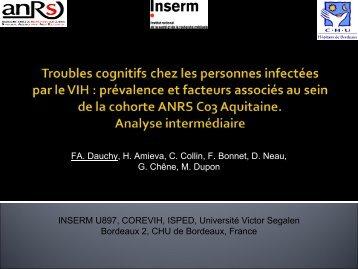 Troubles cognitifs chez les personnes infectées par le ... - Infectiologie