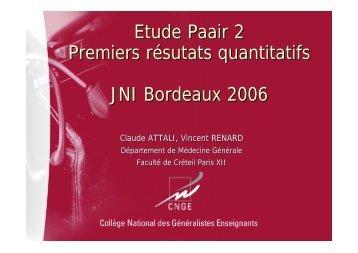 Etude Paair 2 Premiers résutats quantitatifs JNI ... - Infectiologie