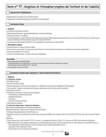 Item n° 77 : Angines et rhinopharyngites de l'enfant et ... - Infectiologie