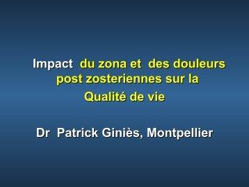 Impact du zona et des douleurs post-zostériennes sur ... - Infectiologie
