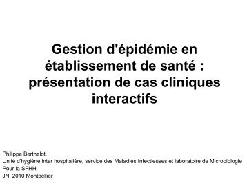 Gestion d'épidémie en établissement de santé ... - Infectiologie