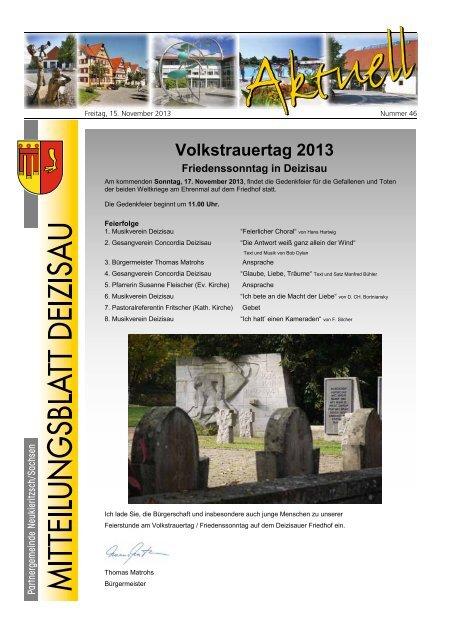 Gemeindemitteilungsblatt vom 15.11.2013 Gemeinde Deizisau