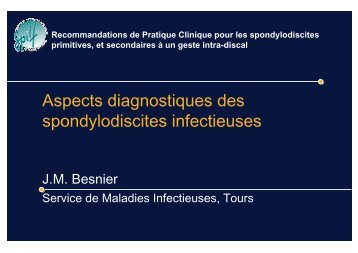 Aspects diagnostiques des spondylodiscites ... - Infectiologie